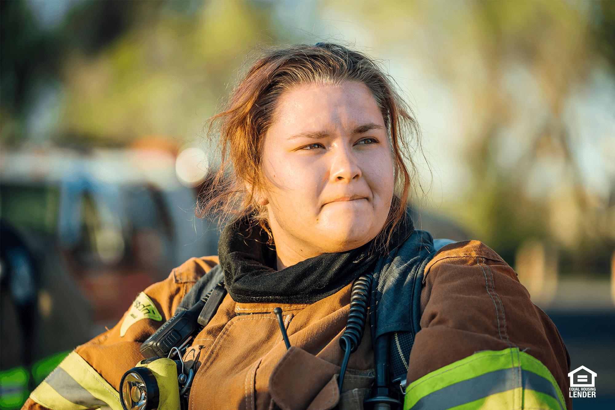 First responder firefighter at work